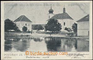 57709 - 1901 Třtice - škola a kostel, pohled přes vodu; DA, proš