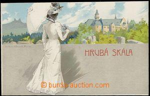57711 - 1905 Hrubá Skála - lithography, lady with brolly ; Un, ver