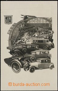 57717 - 1928 AERO, photo-collage, autovýstava, factory Aero vystavu