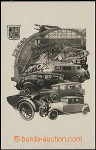 57717 - 1928 AERO, fotokoláž, autovýstava, továrna Aero vystavuj