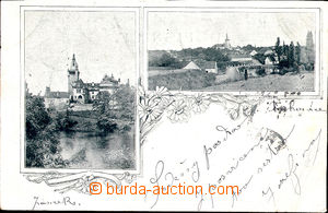 57765 - 1898 Průhonice - 2okénková, pohled na zámek, celkový po