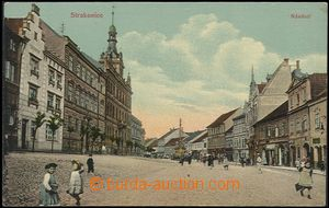 57781 - 1913 Strakonice - square with shops, figures; Un, light bump