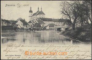 57805 - 1906 Březnice - pohled k mostu a kostelu; DA, prošlá, dob