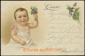 57817 - 1898 child with nosegay violet, lithography; long address, U