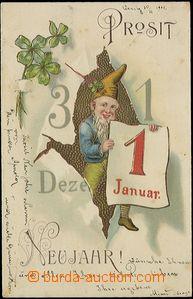 57825 - 1902 novoroční koláž se skřítkem, tlačená; DA, proš