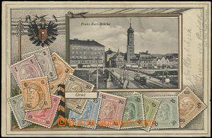57844 - 1903 Graz - koláž, most s tramvají, rakouské poštovní