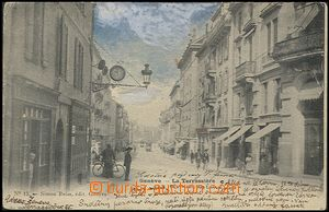 57871 - 1903 Genève - shopping street, by hand colored; long ad