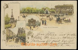 57872 - 1901 Paris - lithography, gilt; long address, Us, very good