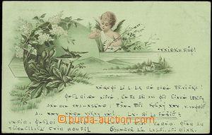 57879 - 1900 andílek, ptáčci, litografie v zeleném odstínu; DA,