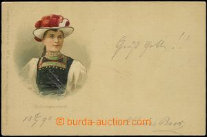 57893 - 1898 girl in costume Schwarzwald; long address, Un, good con