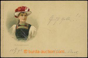 57893 - 1898 dívka v kroji Schwarzwald; DA, nepoužitá, dobrý sta