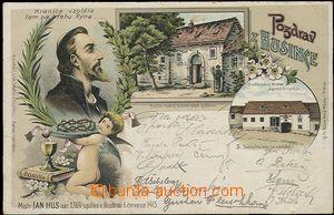57899 - 1902 HUS Jan, litografická koláž, rodný dům před pož�
