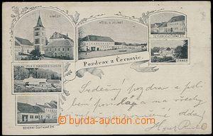 57908 - 1898 Černovice - 6-view, square, sawmill, hotel, castle; lo