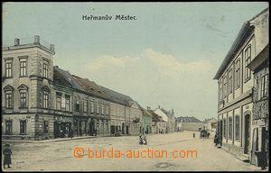 57920 - 1912 Heřmanův Městec - náměstí s obchody; prošlá, od