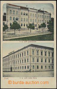 57933 - 1910 Písek - 2okénková, školy; nepoužitá, výborný st