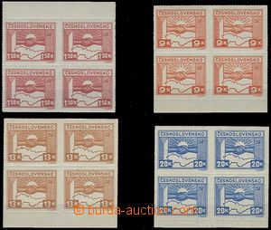 57943 - 1945 Pof.353, 357-59 Košice-issue, blocks of four with omit