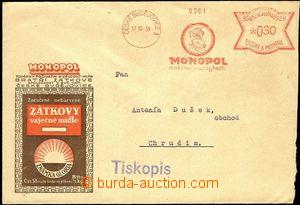 57954 - 1939 firemní obálka vyplacená OVS, frankotyp fy Monopol/