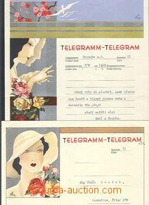57982 - 1940 2 pcs of decorative telegrams incl. envelopes Lx8 (II-1