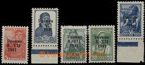 57999 - 1941 ESTONIA - (Pernau), Mi.5-9, přetisk na sov. známkách