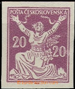 58024 - 1920 Pof.151 20h imperforated, plate proof in violet color