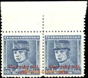 58026 - 1939 Alb.11 overprint - Štefánik, horizontal pair with upper