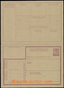 58035 - 1940 stationery CPV1, Un post. order card, folded in perfora
