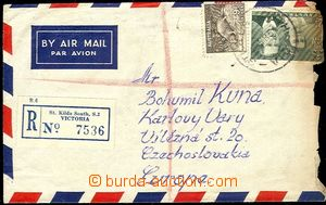 58042 - 1954 R+Let. dopis do ČSR, vyfr. zn. 9d + 2Sh, DR St.Kilda So