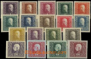 58043 - 1916 Mi.99-116, imperforated PLATE PROOF in/at different col
