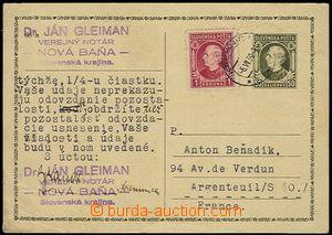 58056 - 1939 CDV2 50h olive-green, uprated with stamp 1 Koruna Hlink