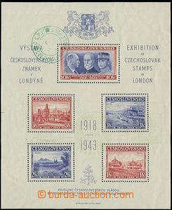 58059 - 1943 Exile London miniature sheet with faded exhibition ligh