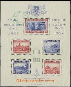 58059 - 1943 Exilový londýnský aršík s vybledlým výstavním s