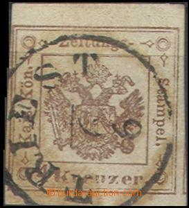 58074 - 1858 Zeitungsstempel  Mi.4 hnědá, silný papír, téměř celé DR