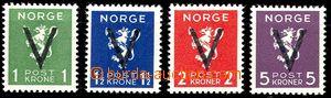 58089 - 1941 Mi.253-56 přetisk V, koncové korunové hodnoty, svěží, k