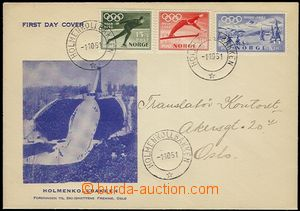 58145 - 1951 FDC with sets olympic stamp. Mi.372-74, with CDS Holmen