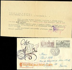 58151 - 1952 FDC with stamp. Pof.681-82 M.Aleš sent as Reg to Franc