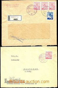 58165 - 1945 letter + Reg letter with Linden Leaves with provisory p