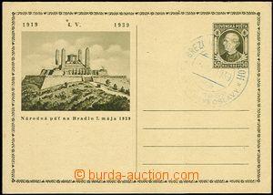 58168 - 1939 CDV1  Bradlo clear with blue special postmark Brezová