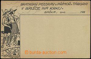 58174 - 1920 skautský tábor Baška, bratrský pozdrav z přímořského tá