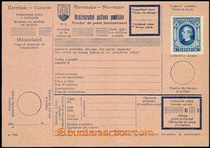 58213 - 1940 international postal order on pink paper with imprint D