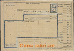 58246 - 1945 Slovak parcel card with revenue 1Ks and hand-made viole
