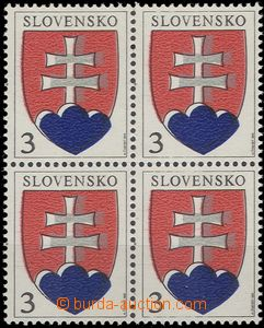 58247 - 1993 Zsf.2 as blk-of-4 with shift silver and blue color; fol