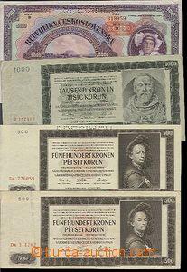 58266 - 1920-44 ČSR I. + ČaM, sestava 13ks různých bankovek a st