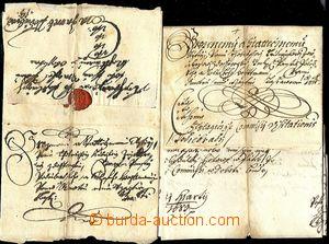 58270 - 1677-83 sestava 2ks malých skládaných šlechtických dopisů ad