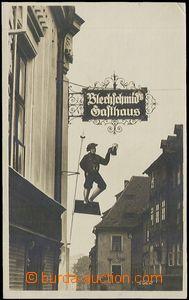 58289 - 1930? Cheb - Blechschmid´s Gasthaus, vývěsky na průčel�