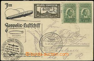 58317 - 1934 BRAZIL  German postcard with additional-printing Zeppel
