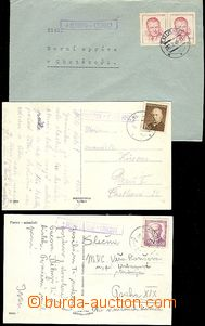58393 - 1947-49 comp. 2 pcs of Ppc and 1 letter with postal agency p