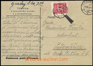 58410 - 1947 LITOMĚŘICE  předtištěný lístek Věznice krajské