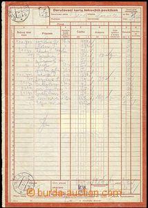 58454 - 1938 doručovací karta šekových poukázek s vylepenými d