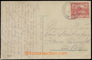 58522 - 1919 postcard with stmp 10h Hradčany and forerunner railway