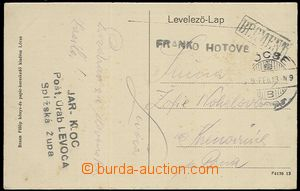 58526 - 1919 Cash  postcard from Levoča with postage cash, marked